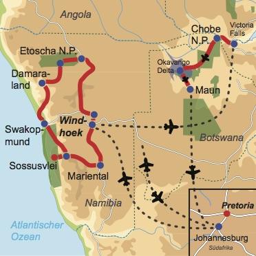 Karte und Reiseverlauf: Akazie - Facettenreiche Mietwagen-Rundreise Namibia und Fly-In Safari durch Botswana