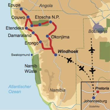 Karte und Reiseverlauf: Auf den Spuren der Himbas - Mietwagen-Rundreise in den Norden Namibias bis hin zum Kaokoveld
