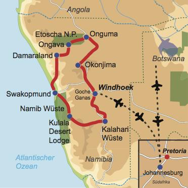 Karte und Reiseverlauf: Best of Namibia - Mietwagen-Rundreise der Extraklasse