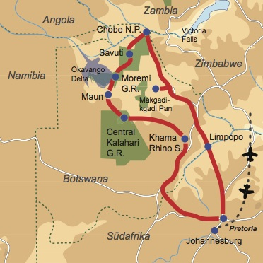 Reiseverlauf: Botswana hautnah - Kleingruppenreise für Safarifans und Naturliebhaber