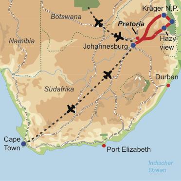 Karte und Reiseverlauf: Bush & Cape Adventure - Geführte Safari mit anschliessendem Aufenthalt in der Kapregion