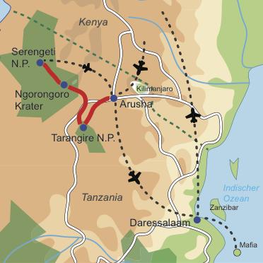 Karte und Reiseverlauf: Footsteps ins Paradies - Honeymoon in Tanzania – Safari und Trauminsel-Kombination