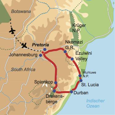 Karte & Reiseverlauf: Kwazulu-Natal Explorer - Aktive Südafrika Mietwagenrundreise