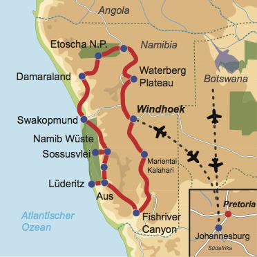 Karte und Reiseverlauf: Namibias Horizonte - Interessante Mietwagen-Rundreise