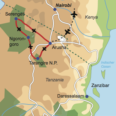 Karte und Reiseverlauf: Sky & Wildlife Safari - Flugsafari mit Stil