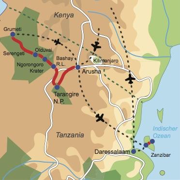 Reiseverlauf: Tanganyika Busch Safari - Spannende Safariaktivitäten und Baden auf Zanzibar