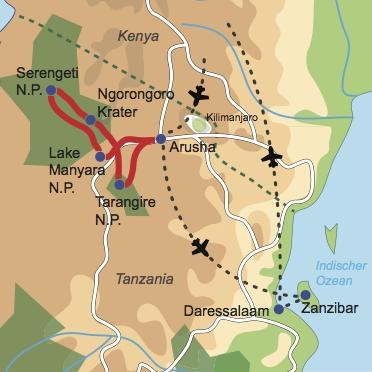 Karte und Reiseverlauf: Tanzania zum Kennenlernen - Tierwelt Tanzanias und Baden auf Zanzibar