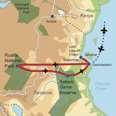 Karte und Reiseverlauf: Tanzanias Wilder Süden - Fly-In Safari in den Süden mit Badeverlängerung an der Küste