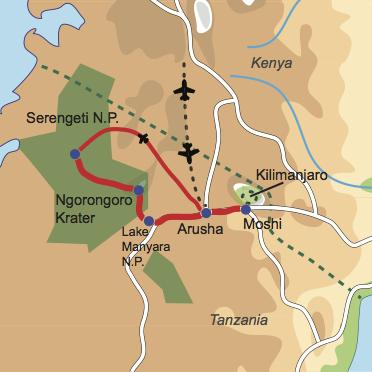 Karte und Reiseverlauf: Weißer Berg und wilde Tiere - Kilimanjaro Besteigung und Safari-Vergnügen