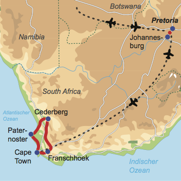 Karte und Reiseverlauf: Westcoast Explorer - Mietwagen-Rundreise durch die Winelands entlang der Westküste nach Kapstadt