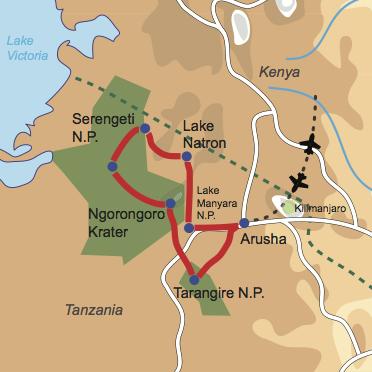 Karte und Reiseverlauf: Wildlife Pur - Authentisches Safarierlebnis mit Bushfeeling