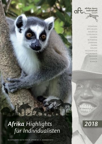 neuer Reisekatalog 2018 von afrika tours individuell GmbH, Cover zeigt einen Lemur
