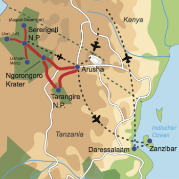 Karte und Reiseverlauf: Auf den Spuren der großen Tierwanderung - Privatsafari und Baden auf Zanzibar