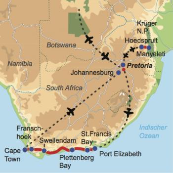 Karte und Reiseverlauf: Best of South Africa - Flugsafari Krüger Park und Mietwagentour Garden Route