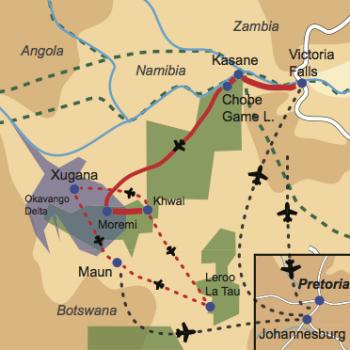 Karte und Reiseverlauf: Exceptional Wilderness  - Mobile Zelt- und Lodge-Safari zu den Highlights Botswana