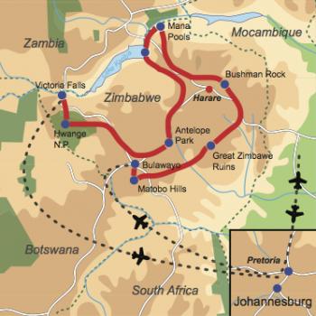Karte & Reiseverlauf: Intimate Zimbabwe Lodge Safari -Englischsprachig geführte Kleingruppen-Rundreise zu den Highlights Zimbabwes