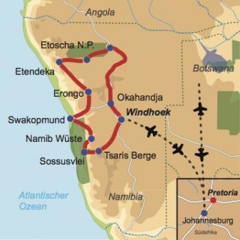Karte und Reiseverlauf: Namibia – aktiv und naturnah - Interessante Mietwagen-Rundreise für wanderfreudige Reisegäste