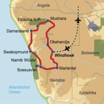 Karte und Reiseverlauf: Namibia zum Kennenlernen - Preiswerte Mietwagen-Rundreise