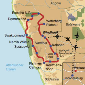 Karte und Reiseverlauf: Namibias Schätze der Natur - Interessante Mietwagen-Rundreise für Naturliebhaber