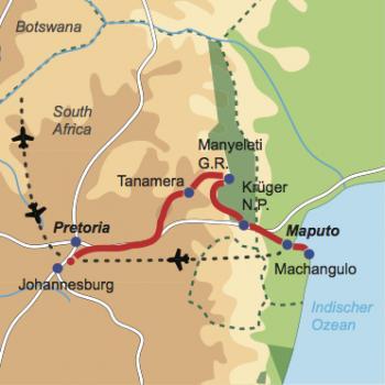 Karte und Reiseverlauf: Piri Piri - Safariabenteuer in Südafrika mit Badeaufenthalt in  Mosambik