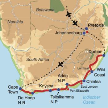 """Karte und Reiseverlauf: Südafrika """"Walk on the Wild Side"""" - Mietwagen-Rundreise entlang der Wild Coast – aktiv und naturnah"""
