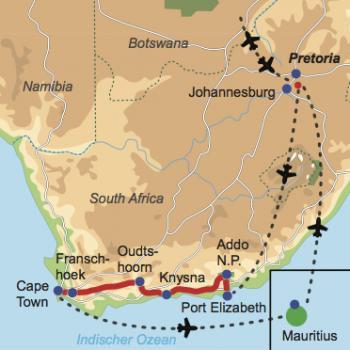 Karte und Reiseverlauf: Südliche Faszination - Mietwagen-Rundreise Südafrika mit Badeverlängerung auf Mauritius