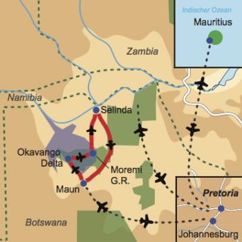Karte und Reiseverlauf: Wilderness und Inselträume - Flugsafari Safari Botswana mit Badeaufenthalt Mauritius