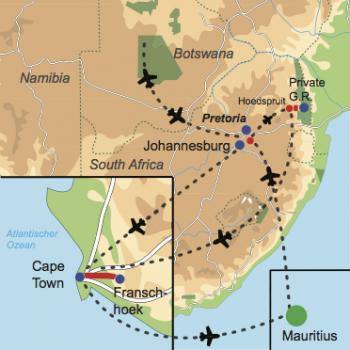 Karte und Reiseverlauf: You are my Sunshine - Honeymoon Safari in Südafrika – Badefreuden auf Mauritius