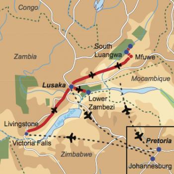 Karte und Reiseverlauf: Zambia Highlights Relaxed - Entspannte Flugsafari zu den Highlights Zambias