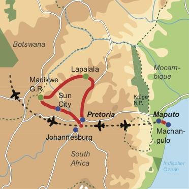 Reiseverlauf: African Romance - Romantisches Safarierlebnis in Südafrika mit Badeaufenthalt in Mosambik
