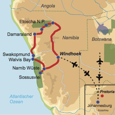 """Karte und Reiseverlauf: Auf """"Pad"""" in Namibia - Deutschsprachige Busreise in Kleingruppen"""