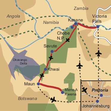 Botswana Flugsafari und Buschromantik