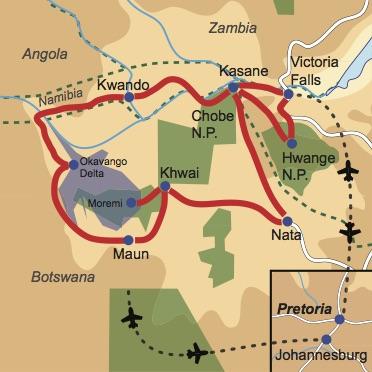 Karte & Reiseverlauf: Botswana Wildlife Breakaway -Kleingruppenreise durch Zimbabwe, Botswana und Namibia