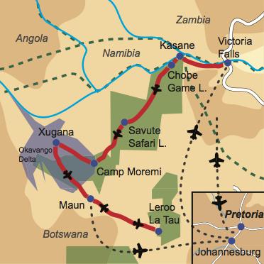Karte und Reiseverlauf: Botswanas Höhepunkte - Fly-In Safari zu den Highlights Botswanas und zu den Viktoria Fällen
