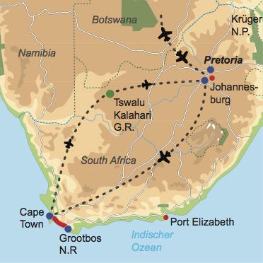 Karte und Reiseverlauf: Cape & Kalahari in Style - Rundreise vom Kap zu den Buschmännern der Kalahari