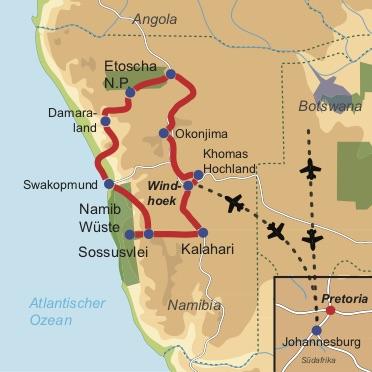 """Karte & Reiseverlauf: Hochzeitstraum Namibia - Mietwagenrundreise für """"Honeymooner"""" zu den Highlights Namibias"""