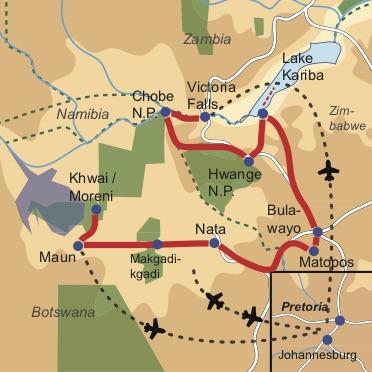Reiseverlauf: Intimate Botswana & Zimbabwe Encounter  - 17-tägige Kleingruppen Lodge Safari durch Zimbabwe und Botswana