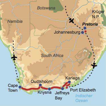 Karte und Reiseverlauf: Kinderparadies Südafrika - Mietwagen-Rundreise Garden Route – Kapstadt