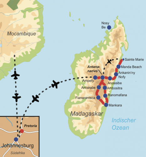 Reiseverlauf Madagaskar Highlights – Natur, Kultur & Lemuren