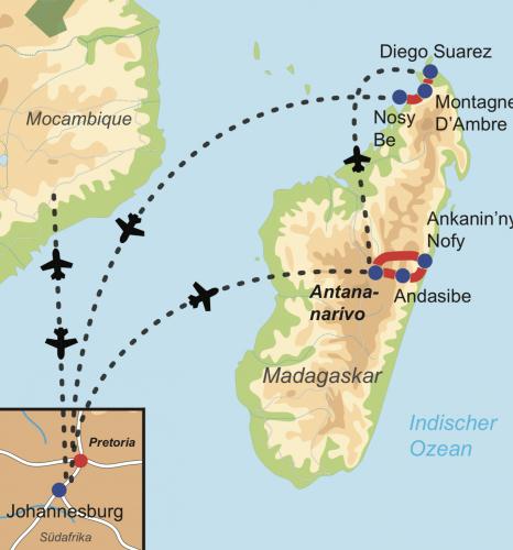 Reiseverlauf Madagaskars Naturschönheiten & Lemuren