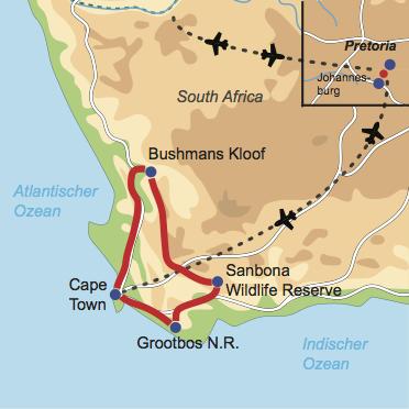 Karte & Reiseverlauf: Magic Destinations - Mietwagenrundreise der Extraklasse in der Kapregion
