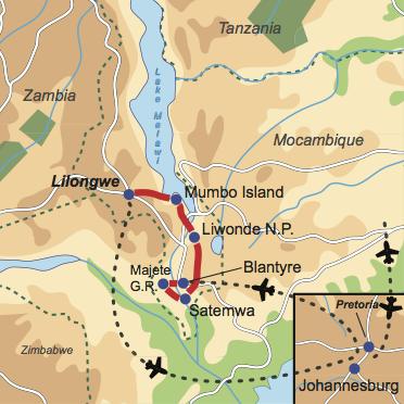 """Karte & Reiseverlauf: Malawi Explorer - Privattour durch das """"warme Herz"""" Afrikas"""