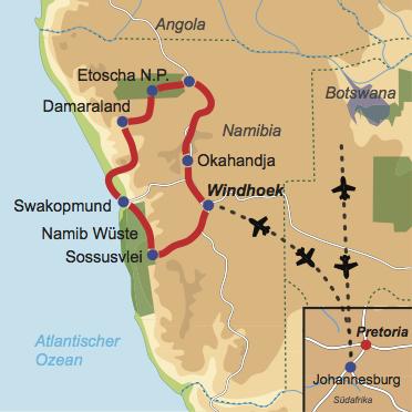Karte und Reiseverlauf: Mit Kindern durch Namibia reisen - Kinderfreundliche Mietwagen-Rundreise