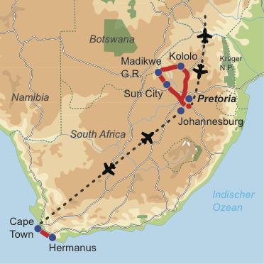 Karte & Reiseverlauf: Mit Kindern durch Südafrika reisen - Kinderfreundliche Mietwagen-Rundreise
