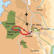 Karte & Reiseverlauf Mt. Meru & African View - Trekkingtour Mt. Meru, Kultur- und Safarikombination