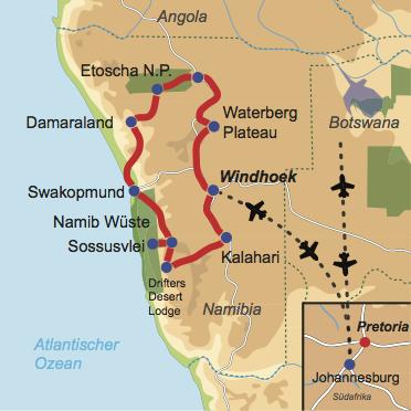 Karte und Reiseverlauf: Namibias Highlights relaxed - Mietwagen-Rundreise zu Namibias Highlights