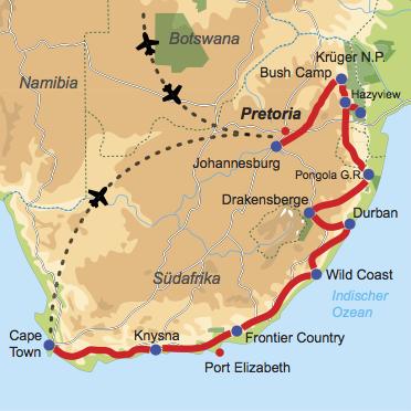 Karte und Reiseverlauf: Südafrika für Junge und Junggebliebene - Geführte Abenteuer-Rundreise naturnah und aktiv