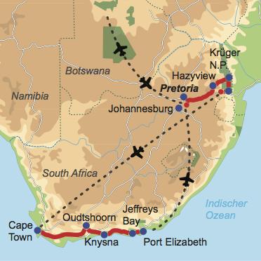 Südafrika zum Kennenlernen - Reiseverlauf