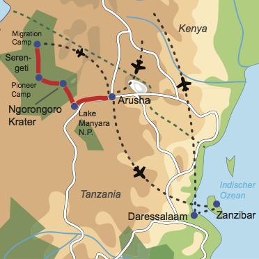 Karte und Reiseverlauf: Tanzania Deluxe - Deluxe Safari im Tierparadies und Strandidylle auf Zanzibar