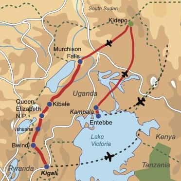 Reiseverlauf Uganda Exquisit